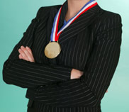 Executive wearing Medal